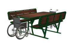 J016-002 - Picnic Table All Hardwood Inserts with Backrest (with Wheelchair) (Thumbnail)