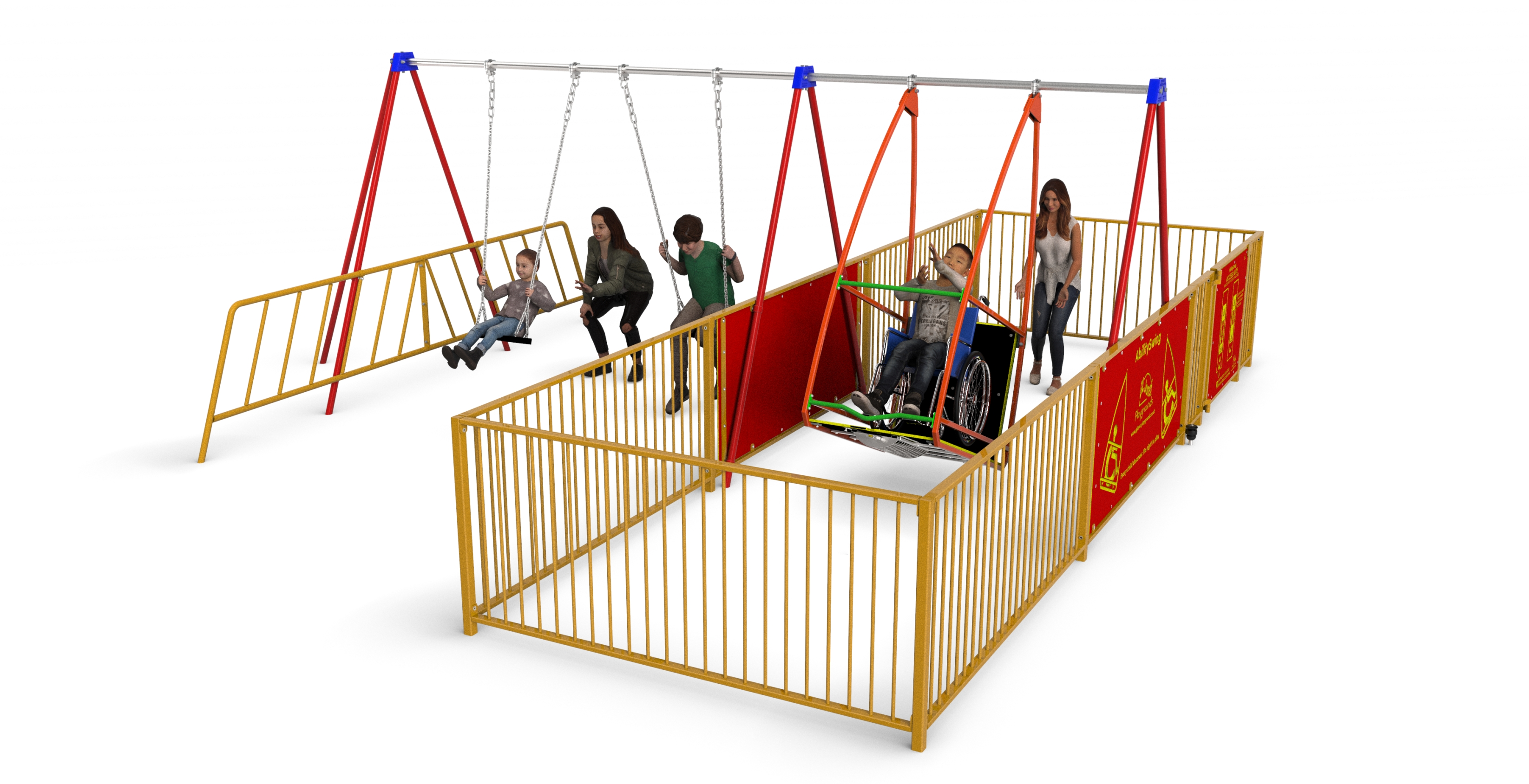 GL Jones Playgrounds - Inclusive Swing - Wheelchair Swing with Enclosure and 2 Other Seats