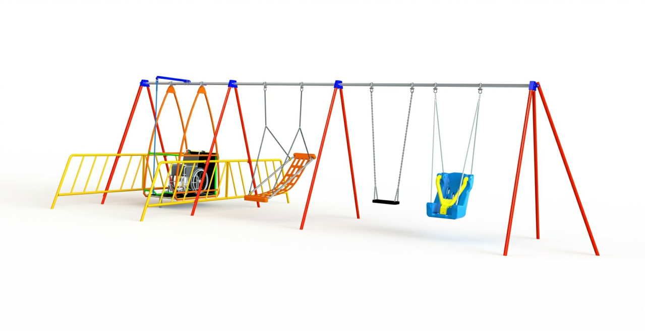 GL Jones Playgrounds - Inclusive Swing - Wheelchair Swing and 3 Other Seats