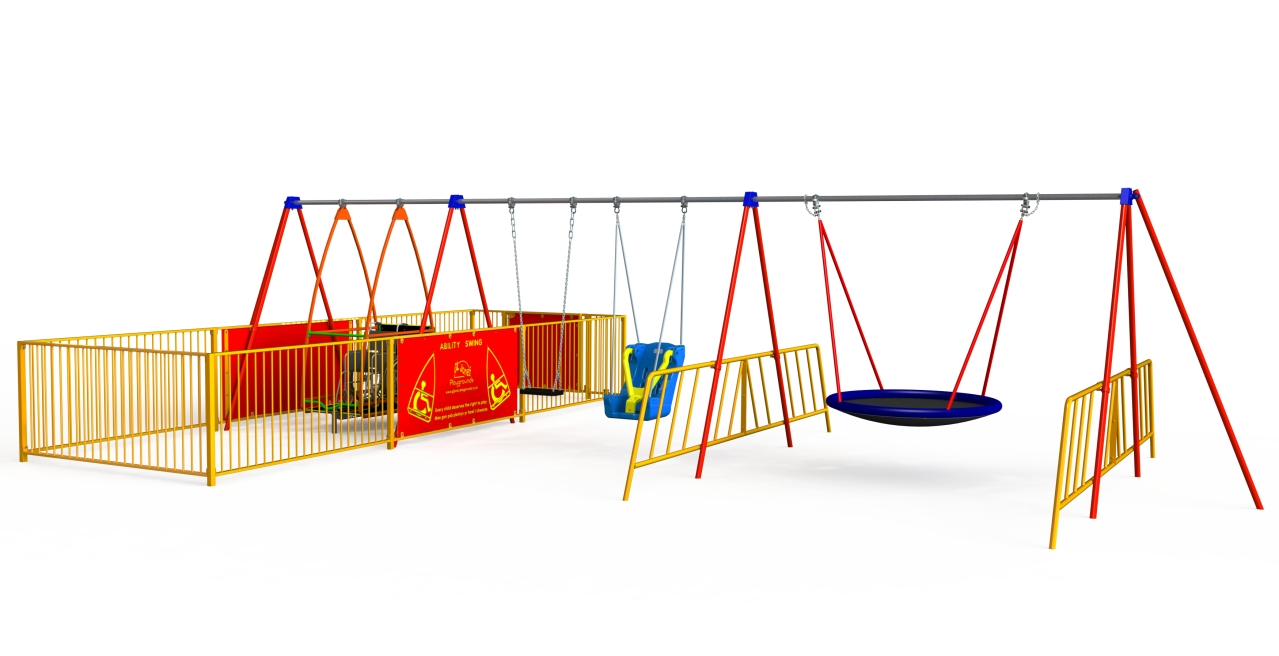 Inclusive Swing - Wheelchair Swing with Enclosure and 3 Other Seats