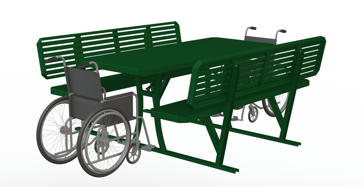 Inclusive Picnic Table - Steel Inserts with Backrest