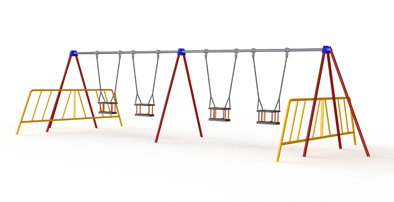 GL Jones Playgrounds - 1.8m High 2 Bay Toddler Traditional Swing - 4 Seat