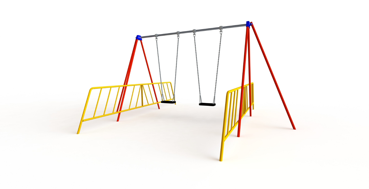GL Jones Playgrounds - 2.4m High 1 Bay Junior Traditional Swing - 2 Seat