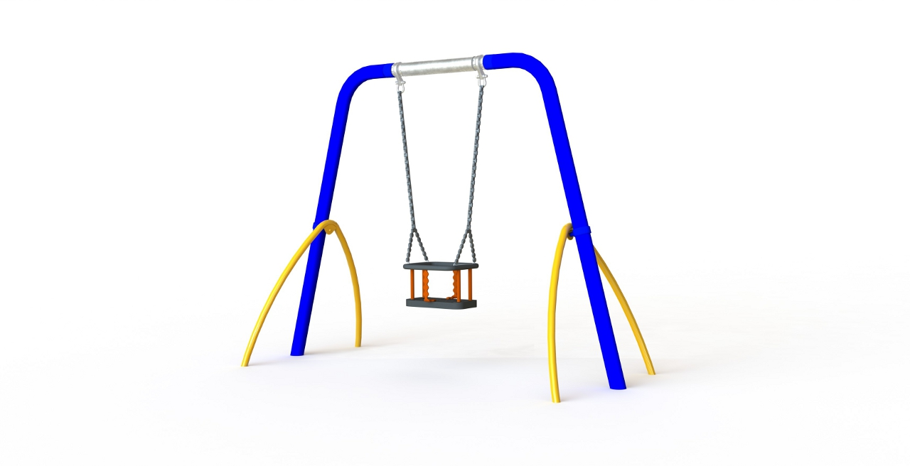 GL Jones Playgrounds - 1.8m High 1 Bay Toddler Arch Swing - 1 Seat
