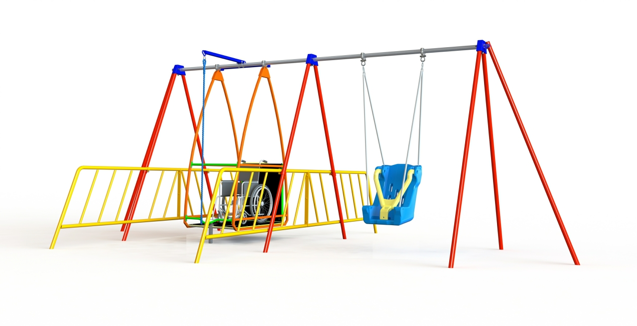 GL Jones Playgrounds - Wheelchair Swing with Full Support Seat & 2 Guard