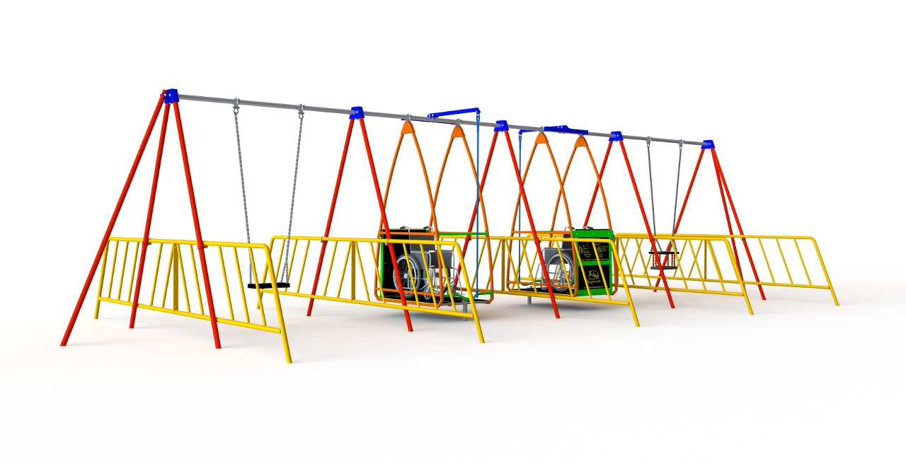 GL Jones Playgrounds - Inclusive Swing - Two Wheelchair Swings and 2 Other Seats