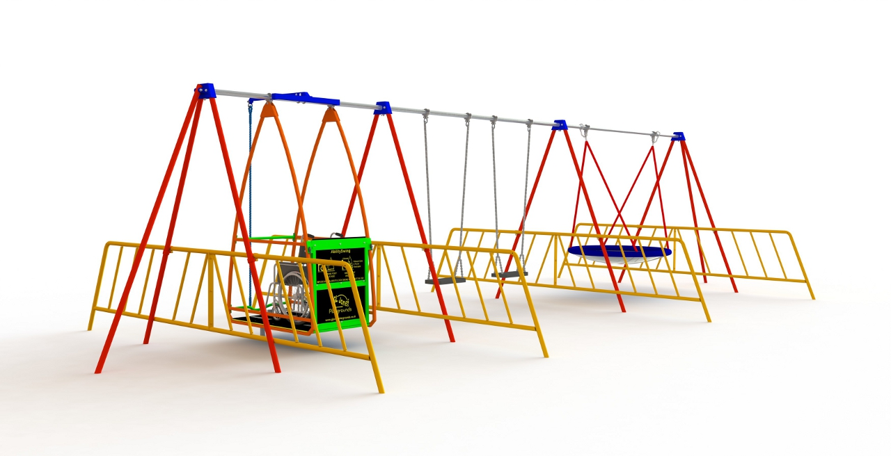 GL Jones Playgrounds - AbilitySwing - BirdNest & 2 Flat Seats with 4 Guards